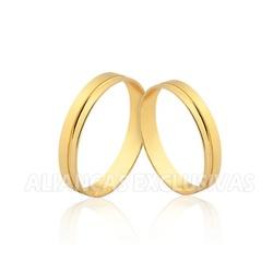 Aliança Reta com friso em Ouro 18k - OV/1526 - Ouro Vale Joias