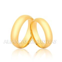 Par de Alianças de Ouro Tradicionais - OV/2004 - Ouro Vale Joias