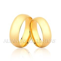 Par de Aliança Tradicional em Ouro 18k - OV/2006 - Ouro Vale Joias