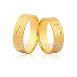 Par de Aliança em Ouro 18k Anatômico - OV/1070 - Ouro Vale Joias