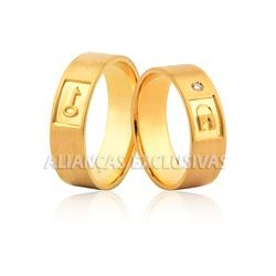 Aliança de Noivado e Casamento em Ouro 18k Fechadu... - Ouro Vale Joias