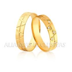 Par de Aliança em Ouro 18k com Diamante - OV/1169 - Ouro Vale Joias