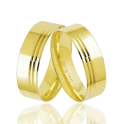 Aliança Grossa de Ouro com Frisos Ouro 18k - OV/T1... - Ouro Vale Joias