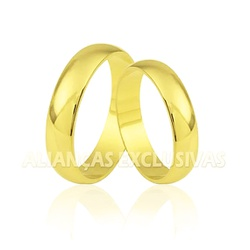 Aliança Tradicional em Ouro Amarelo 18k Anatômica ... - Ouro Vale Joias