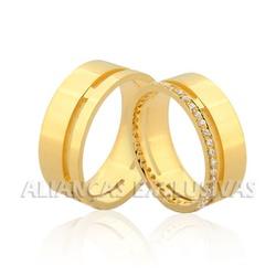 Aliança de Noivado e Casamento em Ouro 18k com Dia... - Ouro Vale Joias
