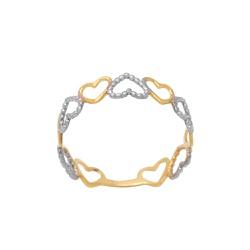 Anel Corações em Ouro 18k - OV/AN20154-12 - Ouro Vale Joias