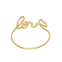 Anel Escrita Love em Ouro 18k - OV/AN18692-2 - Ouro Vale Joias