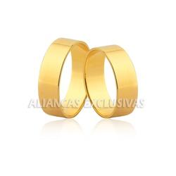 Aliança Reta em Ouro 18k Grossa para Casamento - O... - Ouro Vale Joias
