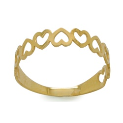 Anel Corações Rosê em Ouro 18k - OV/10607-1 - Ouro Vale Joias