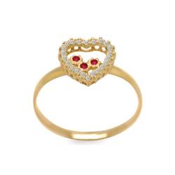 Anel Coração em Ouro 18k - OV/AN13537-1 - Ouro Vale Joias
