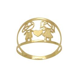 Anel Aro Duplo Casal em Ouro 18k - OV/15471-12 - Ouro Vale Joias