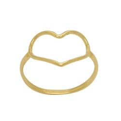 Anel Coração Vazado em Ouro 18k - OV/AN14831-2 - Ouro Vale Joias