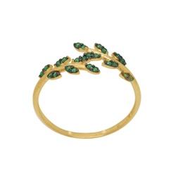 Anel Folhas em Ouro 18k com Pedras Verdes - OV/AN1... - Ouro Vale Joias