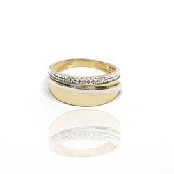 Anel Bicolor com Diamantes em ouro 18k - OV/AN343- - Ouro Vale Joias