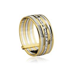 Anel Bicolor Sete Fios Ouro 18k - OV/C219-12 - Ouro Vale Joias