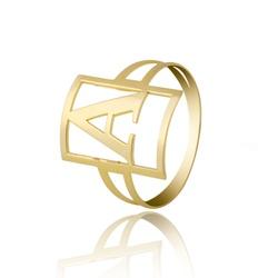 Anel Letra Personalizado Quadrado Ouro 18k - OV/AN... - Ouro Vale Joias