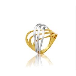Anel Trançado Bicolor em Ouro 18k - OV/AN674-1 - Ouro Vale Joias