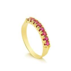 Anel Meia Aliança em Ouro 18k com Pedras Rosas - O... - Ouro Vale Joias