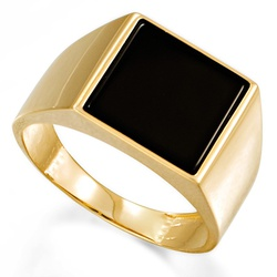 Anel com Pedra Onix em Ouro 18k - OV/AN009-2 - Ouro Vale Joias