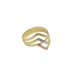Anel Tricolor em Ouro 18k - OV/AN299-2 - Ouro Vale Joias