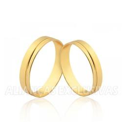 Aliança Reta com Friso em Ouro 18k - OV/1527 - Ouro Vale Joias