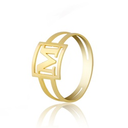 Anel Inicial Letra Personalizado Ouro 18k - OV/ANA... - Ouro Vale Joias