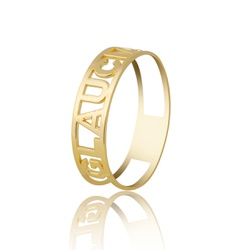 Anel Nome Personalizado Ouro 18k - OV/ANA14 - Ouro Vale Joias