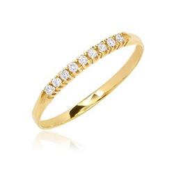 Anel Feminino Meia Aliança com Diamantes em Ouro 1... - Ouro Vale Joias