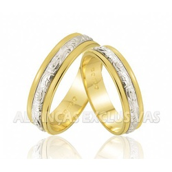 Alianças de Casamento Bodas em Ouro 18k e Ouro Bra... - Ouro Vale Joias