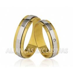 Alianças de Casamento Bodas em Ouro 18k com Diaman... - Ouro Vale Joias