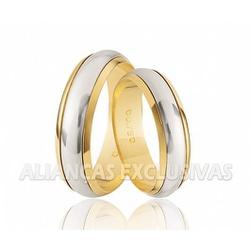 Alianças Bodas de Casamento em Ouro 18k e Ouro Bra... - Ouro Vale Joias