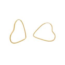 Brinco Argola Coração em Ouro 18k - OV/BR12317-1 - Ouro Vale Joias
