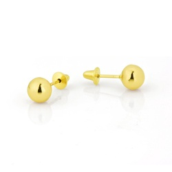 Brinco Bola 4,0 mm em Ouro 18k - OV/BR1329-12 - Ouro Vale Joias