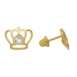 Brinco Coroa em Ouro 18k - OV/BR13126-1 - Ouro Vale Joias