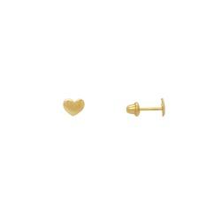 Brinco de Coração em Ouro 18k - OV/BR17378-1 - Ouro Vale Joias