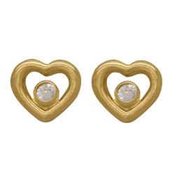 Brinco Coração Vazado em Ouro 18k - OV/BR9788-2 - Ouro Vale Joias