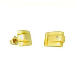 Brinco Quadrado com Diamante em Ouro 18k - OV/BR71... - Ouro Vale Joias