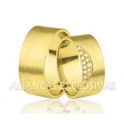 Alianças Escovadas e com Diamantes em Ouro 18k - O... - Ouro Vale Joias