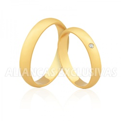 Aliança com Diamante Central em Ouro 18k - OV/338 - Ouro Vale Joias