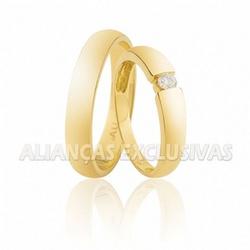 Aliança com Diamante Central em Ouro 18k - OV/352 - Ouro Vale Joias