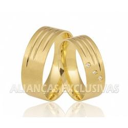Alianças Grossas de Ouro com Diamantes - OV/357 - Ouro Vale Joias