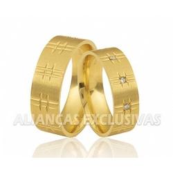 Alianças de Ouro Grossas e Escovadas - OV/374 - Ouro Vale Joias