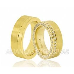 Alianças Grossas de Ouro Anatômicas 80 Diamantes -... - Ouro Vale Joias