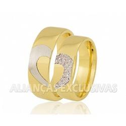 Aliança com Coração em Ouro Branco e Diamantes em ... - Ouro Vale Joias