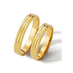 Aliança Fina com Diamante em Ouro 18k - OV/C571R - Ouro Vale Joias