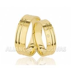 Alianças Trabalhadas e com Diamantes em Ouro 18K -... - Ouro Vale Joias