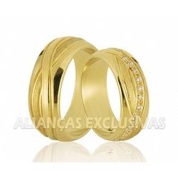 Aliança Personalizada com Diamantes em Ouro 18k -... - Ouro Vale Joias