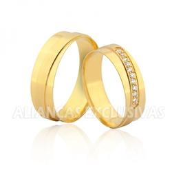 Alianças de Casamento em Ouro Polidas - OV/953 - Ouro Vale Joias