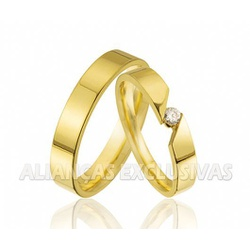 Par de Alianças Finas em Ouro 18k com Diamante - O... - Ouro Vale Joias