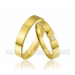Aliança com Diamante Central Ouro 18k - OV/343 - Ouro Vale Joias